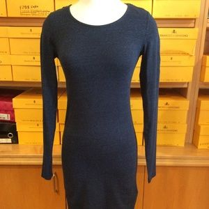 H&M basic long sleeve fitted dress in dark blue XS